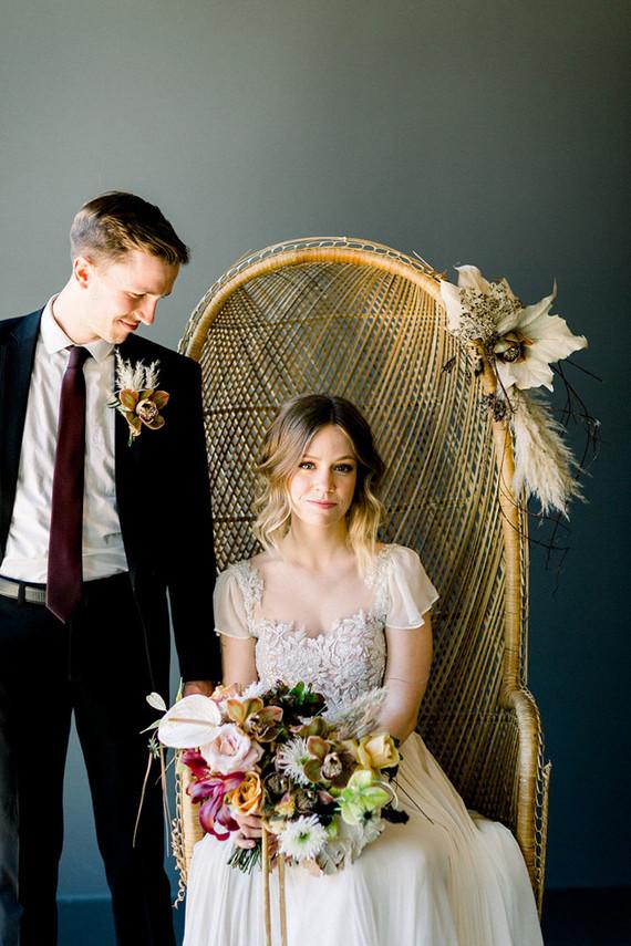 Gorgeous modern wedding portraits with boho chairs