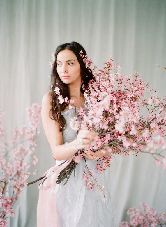 Cherry blossom bridal editorial in Charleston