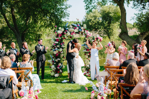Floral wedding arbor at greengage ranch