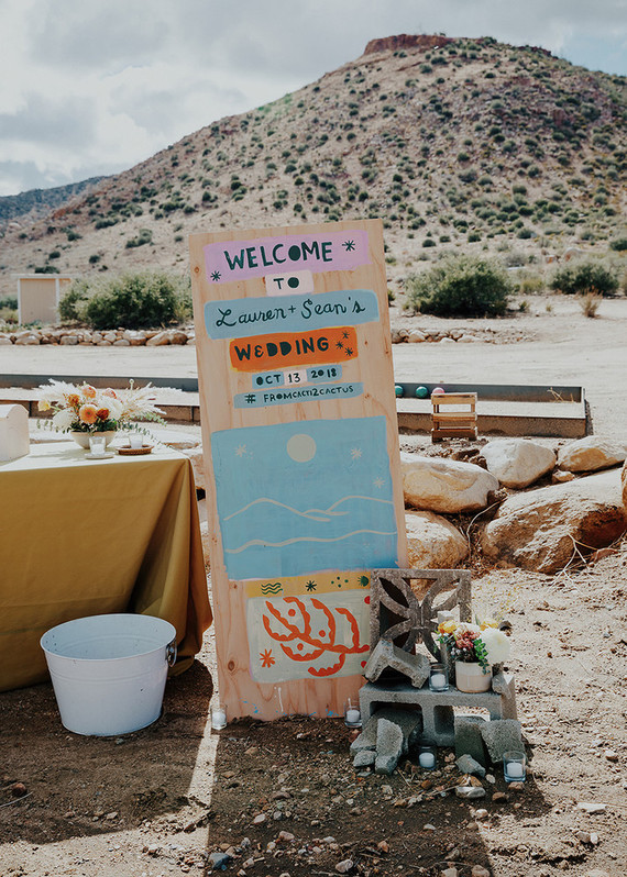 hand-painted wedding signage