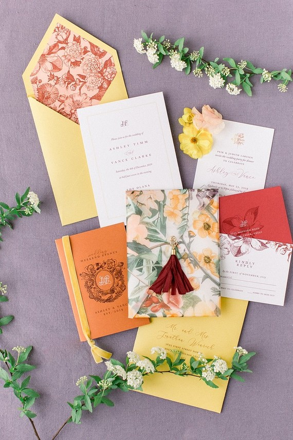 colorful spring wedding invites