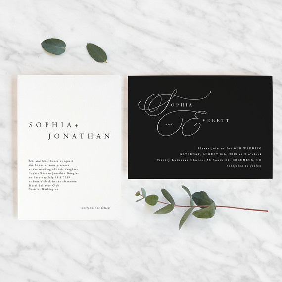 On trend invitations for 2019 weddings from Minted