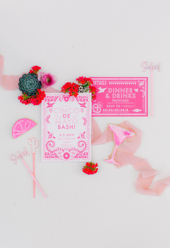 Pink mexican themed invitations