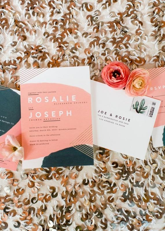 Modern coral wedding invitations