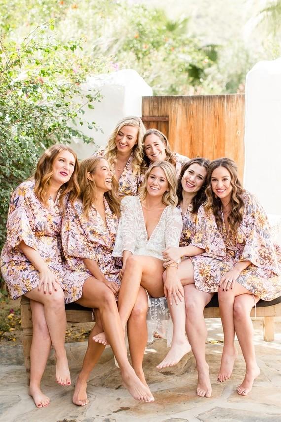 Pink floral matching bridesmaid robes
