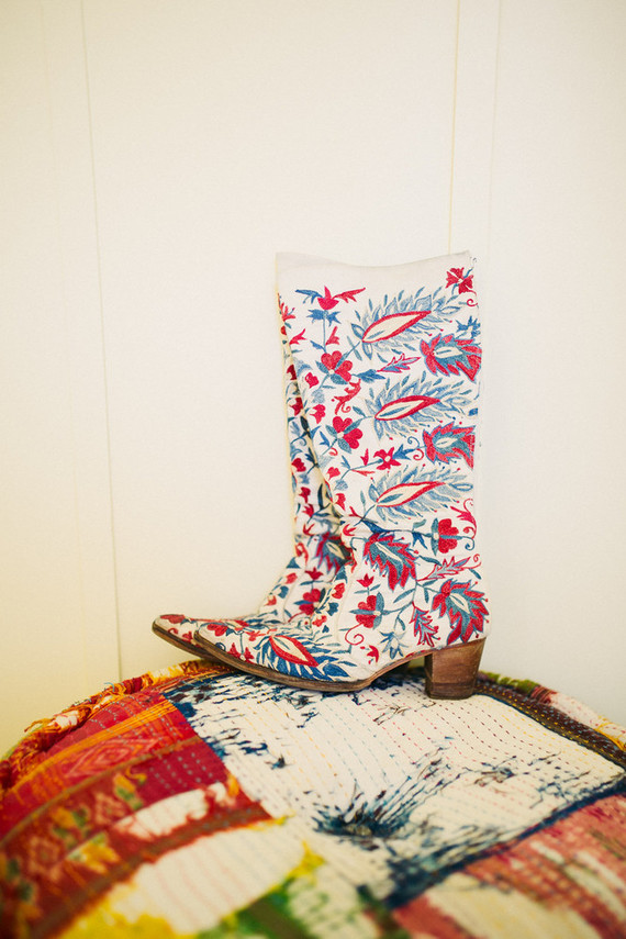 embroidered cowboy boots for the bride