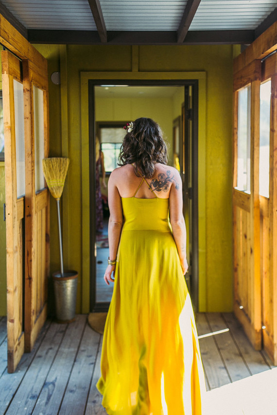 mustard yellow bridesmaid dress