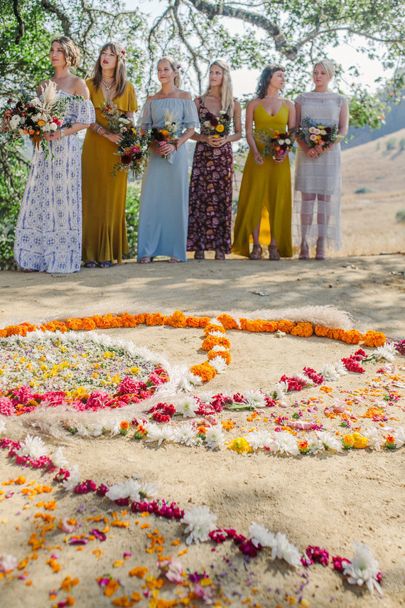 bridesmaids and floral mandala