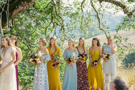 mixed print and floral bridesmaid dresses
