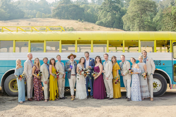 floral, colorful bohemian wedding with a Gillibus