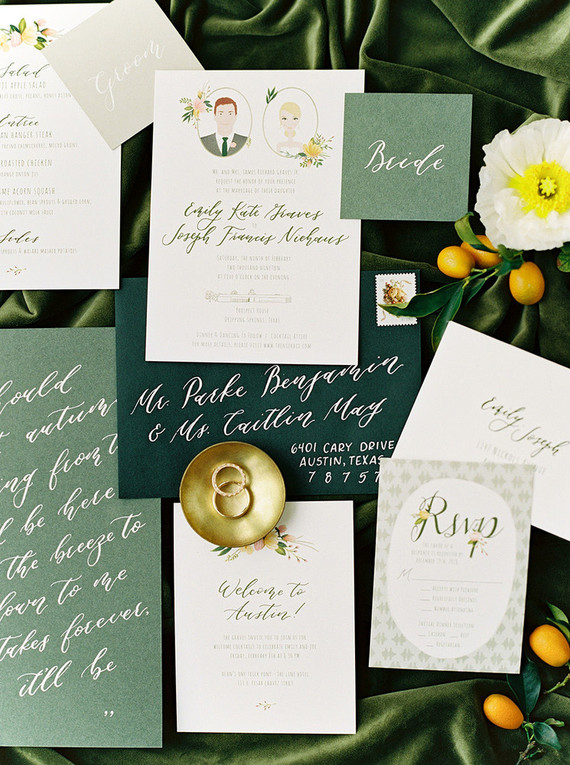 Emerald green wedding details from a Prospect House wedding in Texas