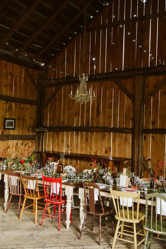 vintage rustic barn wedding reception