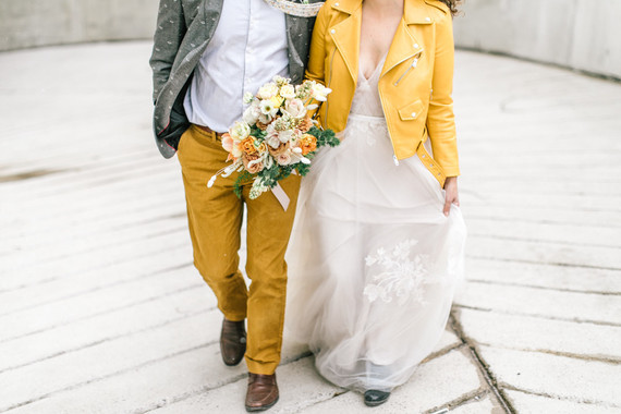 Mustard yellow jacket for the bride