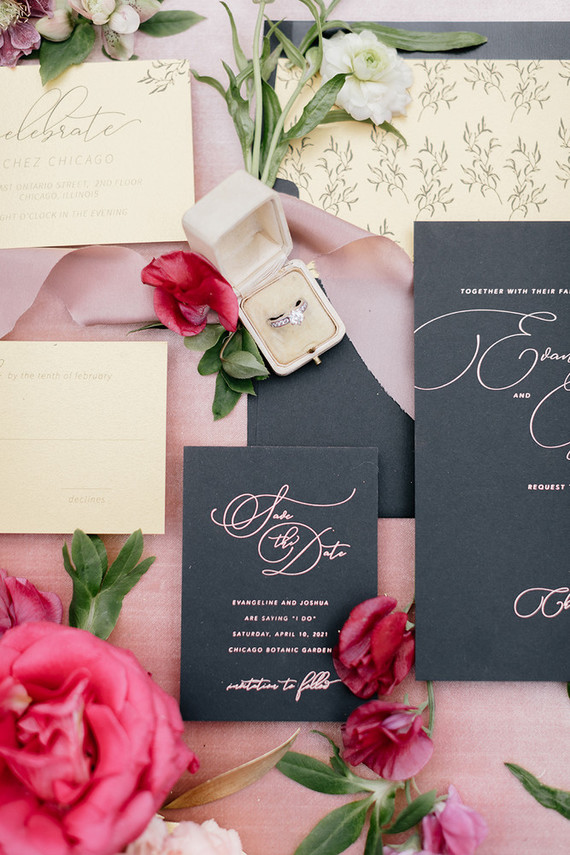 Modern pink and black wedding invitations