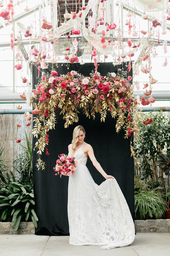 Modern floral pink and black wedding ideas