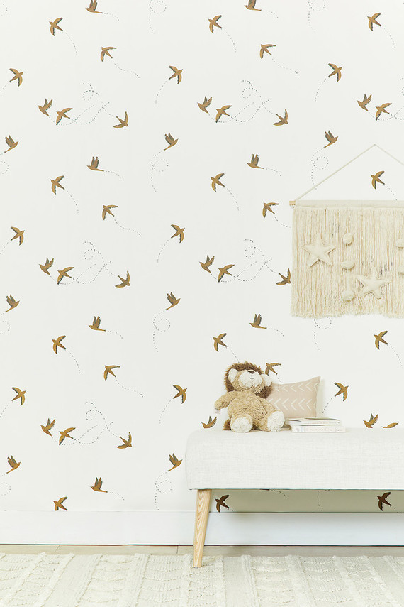 Rylee + Cru wallpaper | neutral nursery and kids room ideas on 100 Layer Cakelet