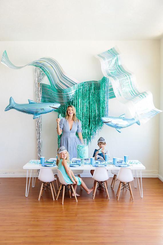 Shark themed metallic boy's birthday party