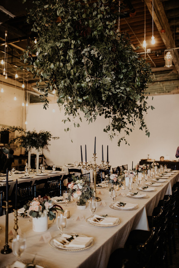 Gold and green tablescape