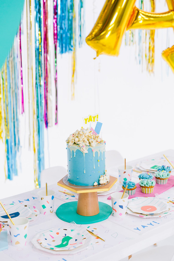 Colorful modern food fight 5th birthday party