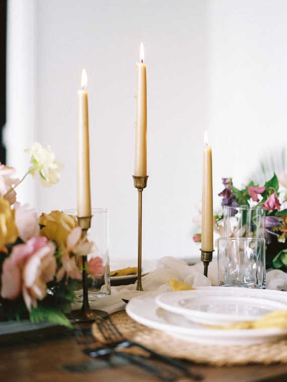 Black and yellow wedding tablescape