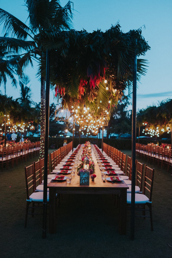 Tropical tablescape with hanging florals