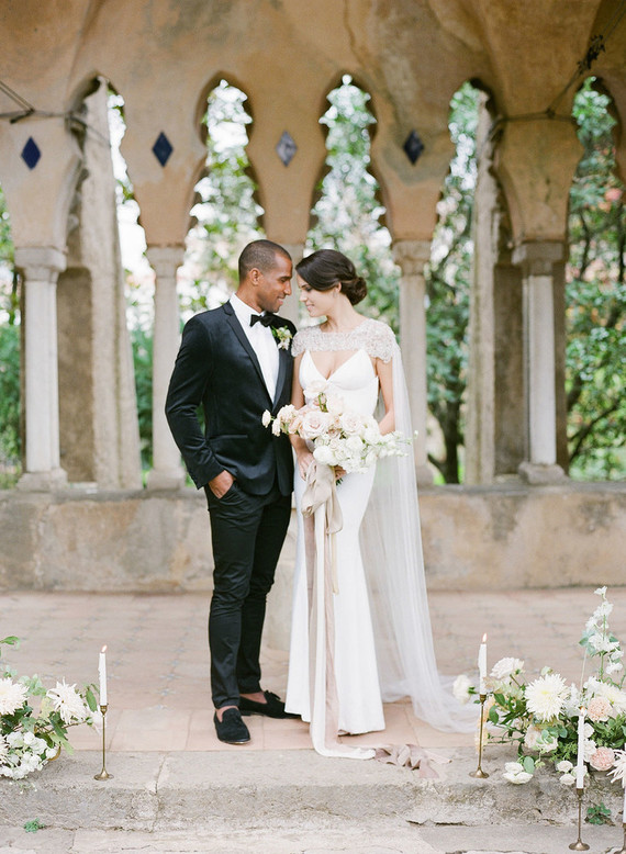 Elegant wedding fashion with bridal cape