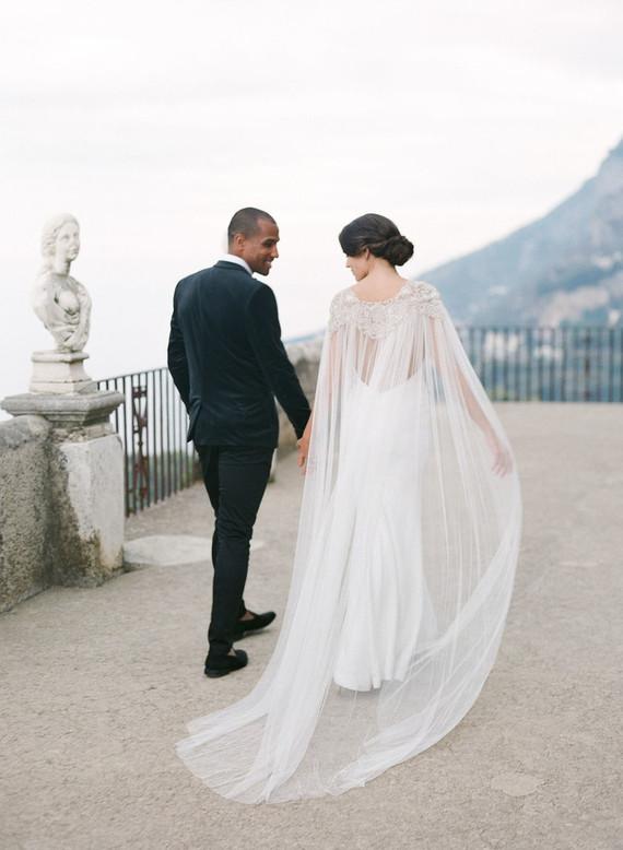 Elegant bridal cape dress