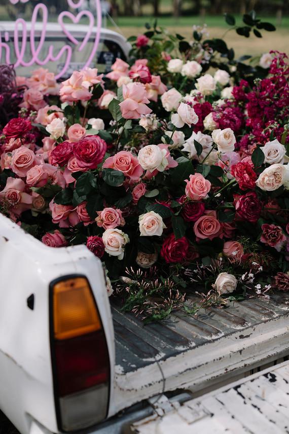 Truck of wedding flowers