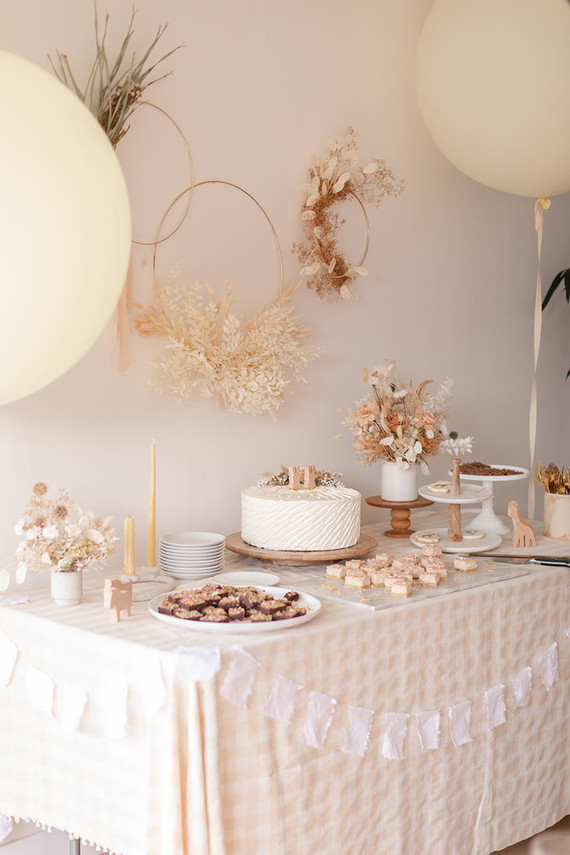 summer baby shower dessert table