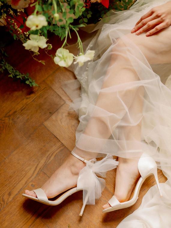 Bow bridal heels