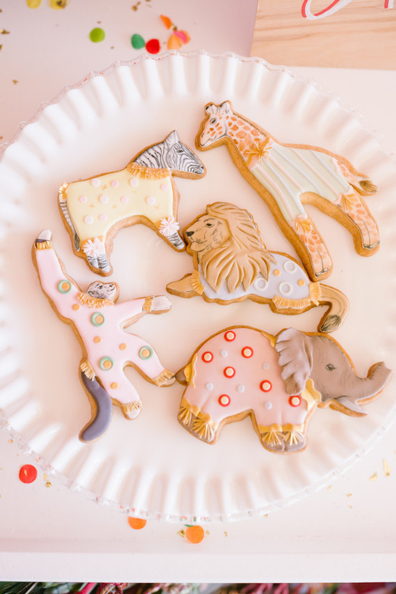 Circus themed sugar cookies