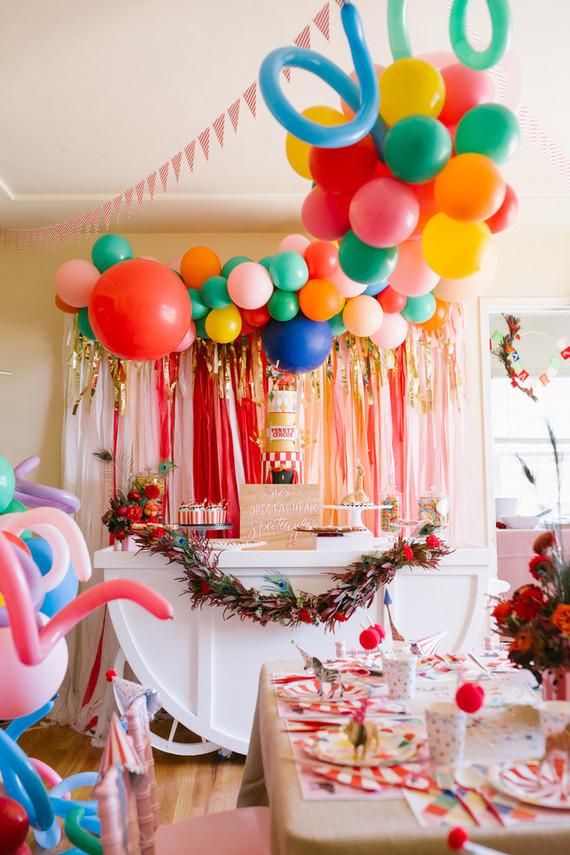 1st Birthday Party Ideas.Colorful Circus Themed 1st Birthday Party At Home 100
