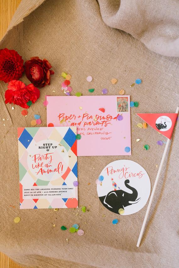 Circus themed birthday invitations