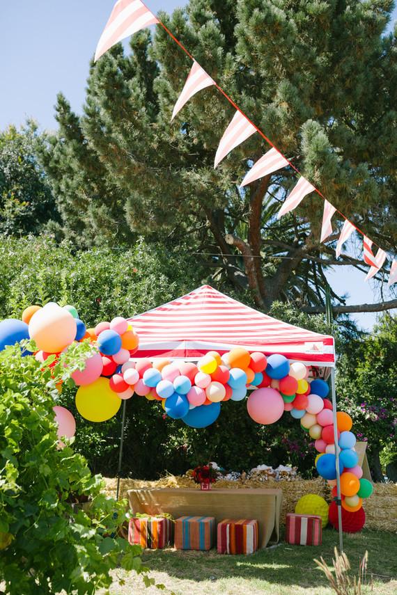 Rainbow balloon installation