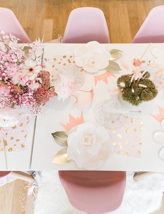 Pink + gold princess tea party 3rd birthday
