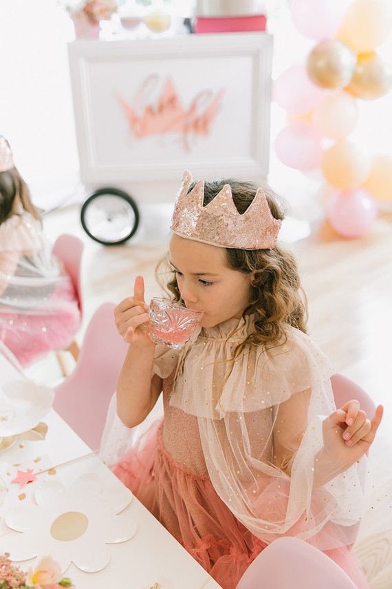 Pink + gold princess tea party 3rd birthday