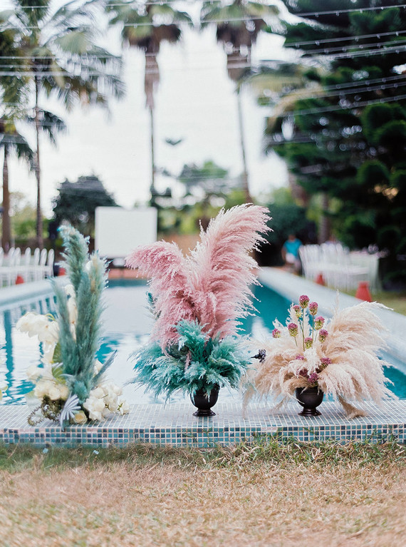 Dyed floral wedding decor