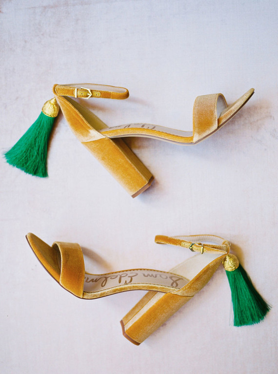 Gold and emerald wedding heels