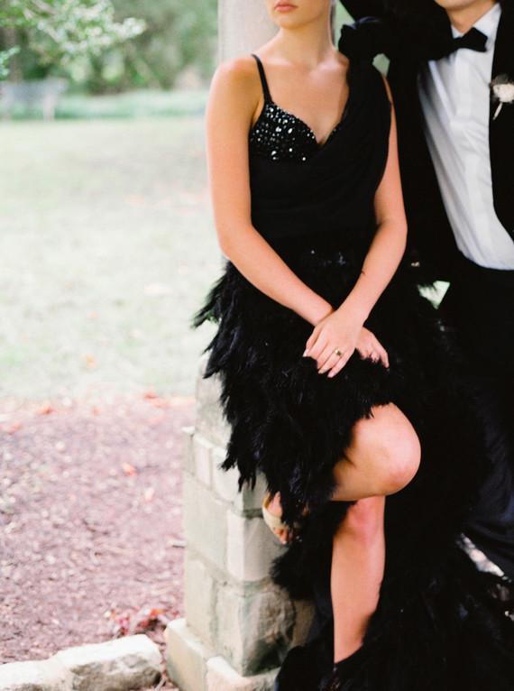 Black feather wedding dress