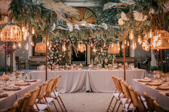 Elegant wedding tablescape with lanterns