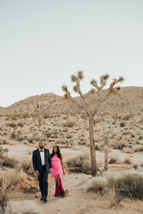 Joshua Tree engagement shoot in hot pink dress