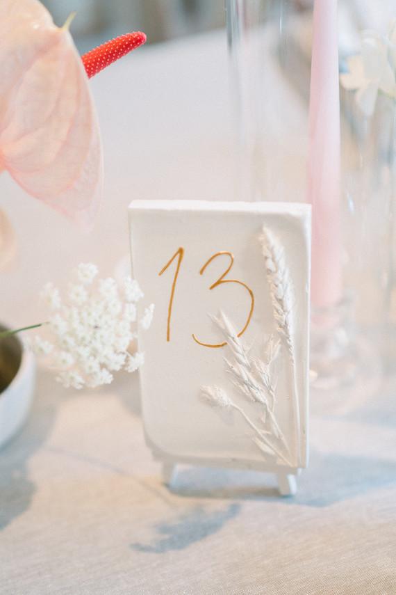Elegant white table number