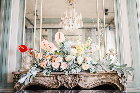 Wedding flowers on mantel