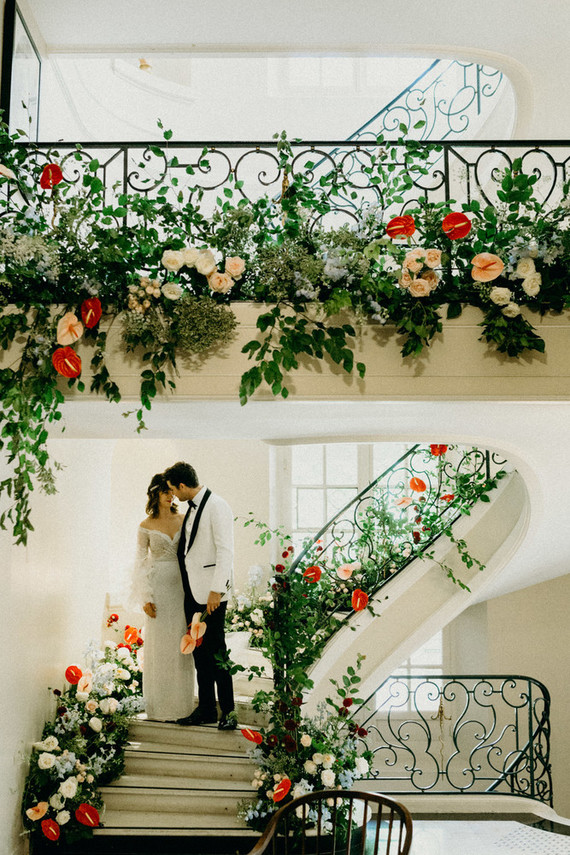 Floral staircase for wedding