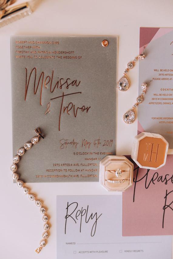 Modern gold wedding invitations