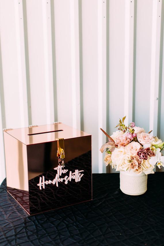 Modern black + blush wedding at Hangar 21