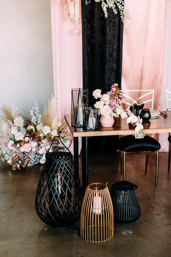 Acrylic pink + black + gold wedding decor
