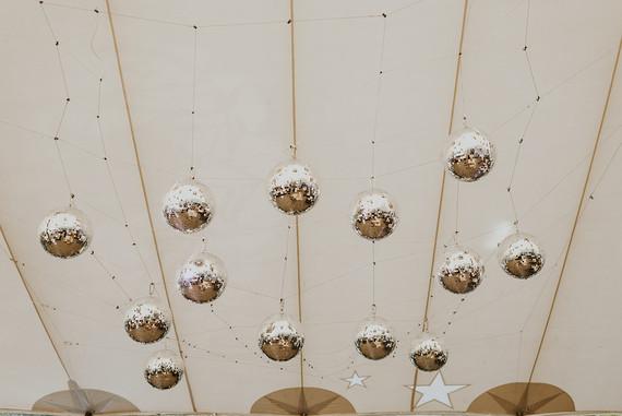 Disco balls in wedding tent
