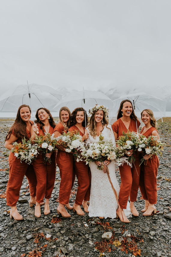 A rainy Alaska Miller's Landing wedding for Tessa + Dillon of The Bus & Us