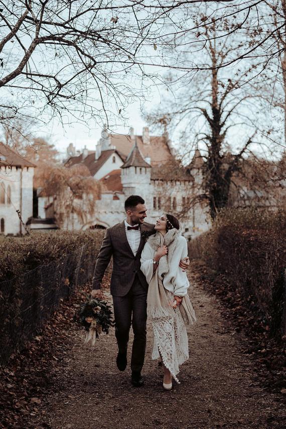Bohemian fall elopement inspiration at Lichtenstein Castle